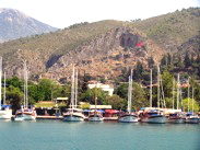 Fethiye Harbour tombs and castle above